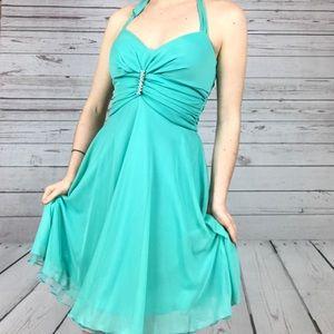 Ruby Rox Aqua Halter Cocktail Dress Size Small